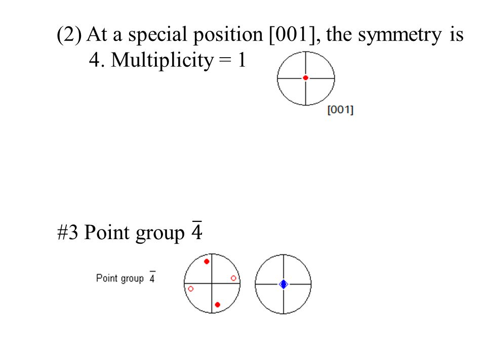 (2) At a special position [001], the symmetry is